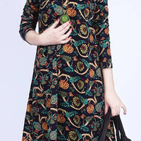Floral Print V-Neck Shift Dress