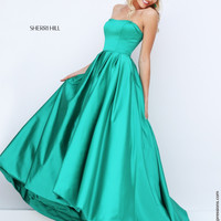 Sherri Hill 50226 Strapless Satin Tea Length Prom Dress