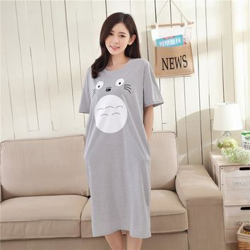 2017 New Summer Autumn Women's Cartoon Pijamas Home Cloth Nightshirt Women Causal Sleepwear Cotton Nightgown With Pocket