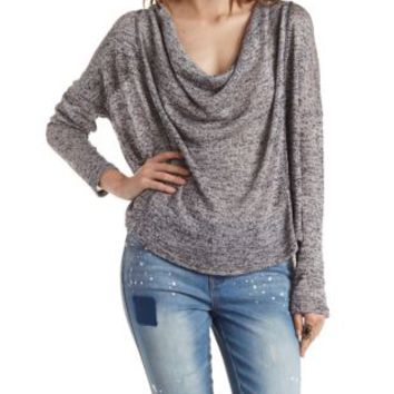 Black Combo Draped Cowl Neck Sweater Top by Charlotte Russe