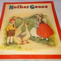 Children's Antique Illustrated Mother Goose Book Mary Lafetra Russell