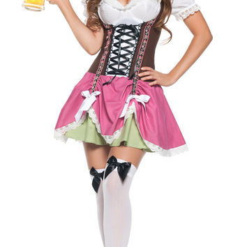 Puff Sleeve Beer Girl Mini Skater Costume Set
