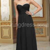 Marvelous Strapless Chiffon Gown Has Ruched Bodice With Beaded Neckline