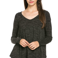V-Neck Marled Knit Top - Charcoal