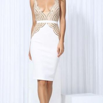On The Move Beige White Sequin Sleeveless Plunge V Neck Bodycon Midi Dress
