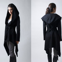 Black Coat with a Hood Asymmetric Hoody Cardigan Sweater Hoodie Stylish Jacket