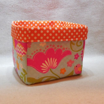 Lovely Floral Fabric Basket With Orange Polka Dot Liner