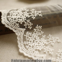 White Embroidery Lace Trim Bridal Lace Wedding Lace Floral Lace Cotton Embroidery- width 11cm 4 inches, one yard Lace