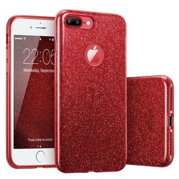Shockproof Hybrid (Rubber & Acrylic & Glitter Paper) 3in1 Hard&Soft Coque Case Cover for iPhone 7 Plus 6 6s/6 Plus/6s Plus/5 5s