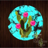 Turquoise and Cactus Car Coaster
