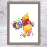 Winnie the Pooh nursery, Pooh Prints, Baby Shower Gift, Pooh bear poster, Kids room, baby decor, Kids wall art, Disney  Winnie poster, V42