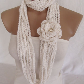 Crocheted Scarf, Infinity Rope Scarf, Chain Scarf (White) by Arzu's Style