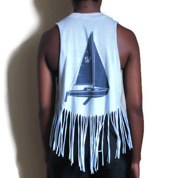 Upcycled Fringe Shirt Tank Baby Blue Sale Boat 1985 Repurposed T-Shirt Vintage XS Small