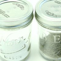 Personalized Salt and Pepper shakers - Hand Etched Mason Jar Salt and Pepper shakers - Etched Glass Mason Jar