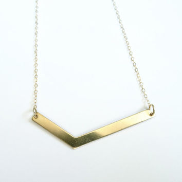 Asymmetrical Necklace, Gold Necklace, Layered Necklace, Asymmetrical Jewelry, Minimal Necklace, Landon Lacey, Chevron Necklace