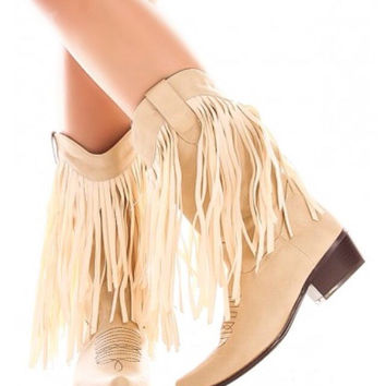 Beige Western Style Boot with Fringe Detail