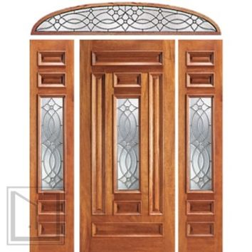 Pre-hung Mahogany Center Lite Entry Two Side lights Transom Door
