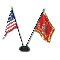 US & USMC Mini Flag Set with Plastic Base