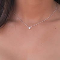 Silver Solitaire Necklace, CZ Diamond Necklace, Simple Delicate Necklace