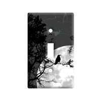 Raven at Night - Black Bird Full Moon Light Switch Plate Cover