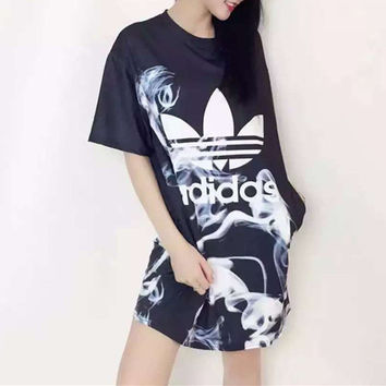 """Adidas"" Fashion Casual Clover Letter Print Round Neck Short Sleeve Long T-shirt Mini Dress"