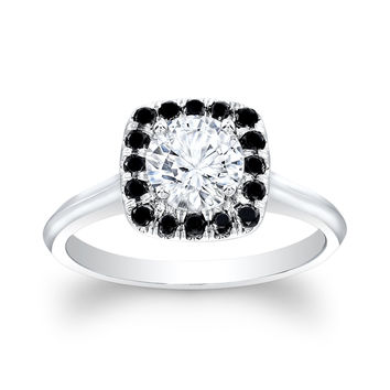 Ladies 14kt white gold engagement ring with Black color diamond cushion halo and 1ct White Sapphire Center