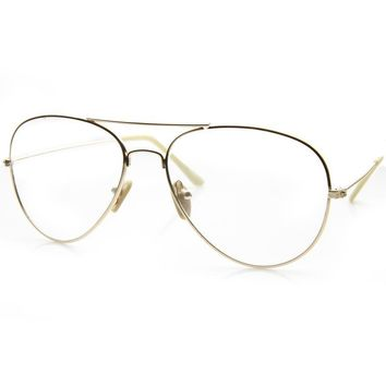 Classic Clear Silver Aviator Oversized Glasses