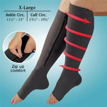 New Women Zipper Compression Socks Zip Leg Support Knee Socks Slim Sleeping Beauty Leg Shaper Open Toe Sock S/L