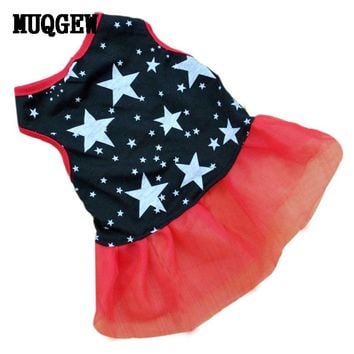 PET DOG DRESS PARTY LACE STAR PRINT WARM WINTER COSTUME CHIHUAHUA OUTFIT DOG APP