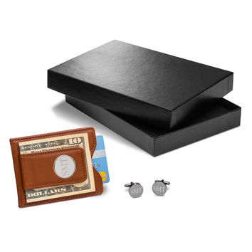 Personalized Brown Leather Wallet & Cufflinks Gift Set