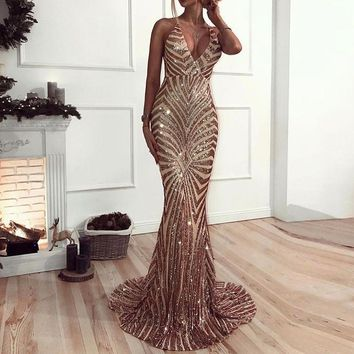 Sleeveless Stretch Sequined Party Dresses Deep V Neck Gold Black Maxi Backless Bodycon Long Lining Evening Club Mermaid Dress