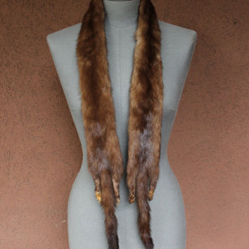 Vintage 1950's Mink Fur Stole - 50's Light Brown Mink Fur Stole