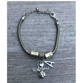 Personalized Softball Love Bracelet with Initial Charm