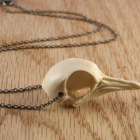 dove bird skull necklace - bone white on gunmetal