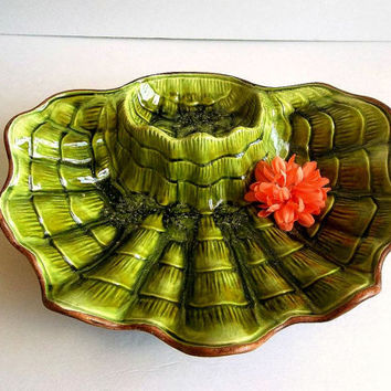 Vintage Treasure Craft Drip Glaze LARGE Clam Shell serving bowl, dish, Retro Avocado ceramic pottery, chip dip, shrimp cocktail, Made in USA