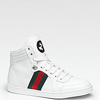 Gucci - Coda Leather Lace-Up Sneakers - Saks Fifth Avenue Mobile