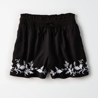 AE Embroidered Smocked Short, Black