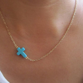 SALE: Sideway Turquoise Cross Necklace / 14K Gold Plated Brass Chain