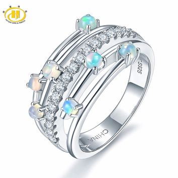 Hutang Stone Jewelry Natural Gemstone Opal Solid 925 Sterling Silver Engagement  Rings Fine Fashion Jewelry For 8a04831b2652