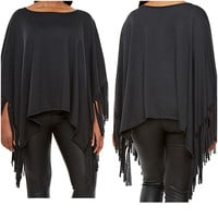 New Plus Black Fringe Poncho Tunic Size 1X