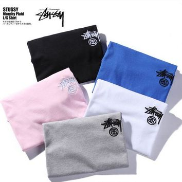 "Kalete ""STUSSY""Fashion loose embroidery logo short sleeve T-shirt"