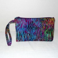 Wristlet in Bali Stained Glass blues/ purples/ green Waves Print | memawsews - Bags & Purses on ArtFire
