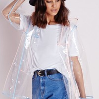 Missguided - Clear Hooded Rain Mac With Pastel Trim