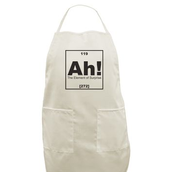 Ah the Element of Surprise Funny Science White Plus Size Apron by TooLoud