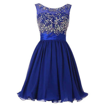 Royal Blue Crystal Beading Homecoming Dresses, Strapless Homecoming Dress with Beads
