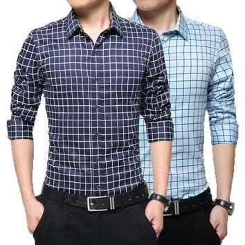 Long Sleeve Plaid Collar Shirts