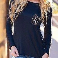 Leopard Print Pocket Long Sleeve T-shirt