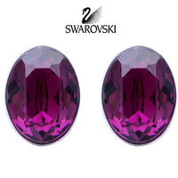 Swarovski Purple Crystal JEWELRY Pierced Earrings BIS AMETHYST Rhodium #5089445