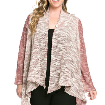 Slub Sweater Open Cardigan Plus Size Burgundy
