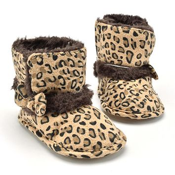 Baby Shoes Winter Leopard Boots Shoes For Girls Kids Boys Snow Booties Keep Warm For Baby Children Toddler Shoes Infant